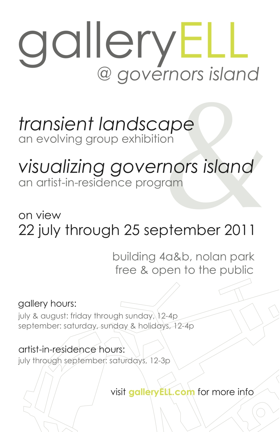 galleryELL @ governors island poster.  design: christine gedeon, 2011.
