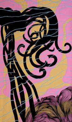 Deanna Lee Hair-brained, 2011 acrylic on paper 59 x 34.5″