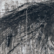 """Kate McGraw Spinningfrom """"Vermont"""" series, 2008 Graphite stick, pencil, and conté crayon on paper 22 x 60"""""""
