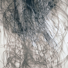 "Kate McGraw Weaving from ""Vermont"" series, 2008 Graphite stick and conté crayon on paper 24 x 18"""