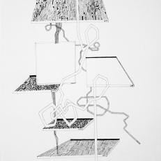 """Mitch Patrick Windowpanes, 2011 pen and ink on paper 12.5 x 17.25"""""""