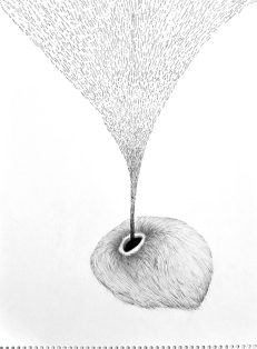 Mitch Patrick It pours, 2010 graphite on paper 12.5 x 17.25""