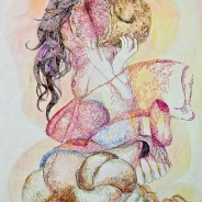 Monica Bill Hughes Mmmm…Beefy Ink, Watercolor, and Marker on Canvas 18 x 24 inches, 2012
