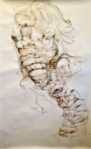 Monica Bill Hughes F-ing Fried Head (Paula) Ink and Watercolor on Paper 48 x 64 inches, 2012