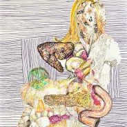 Monica Bill Hughes Celebrity Self Portrait #4 Ink and Marker on Paper 9 x 12 inches, 2012