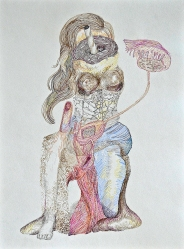 Monica Bill Hughes Celebrity Self Portrait #9 Ink and Marker on Paper 9 x 12 inches, 2012