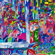 Amanda Kates Me-O My-O Oils and Acrylics on Canvas 64 x 74 inches, 2012