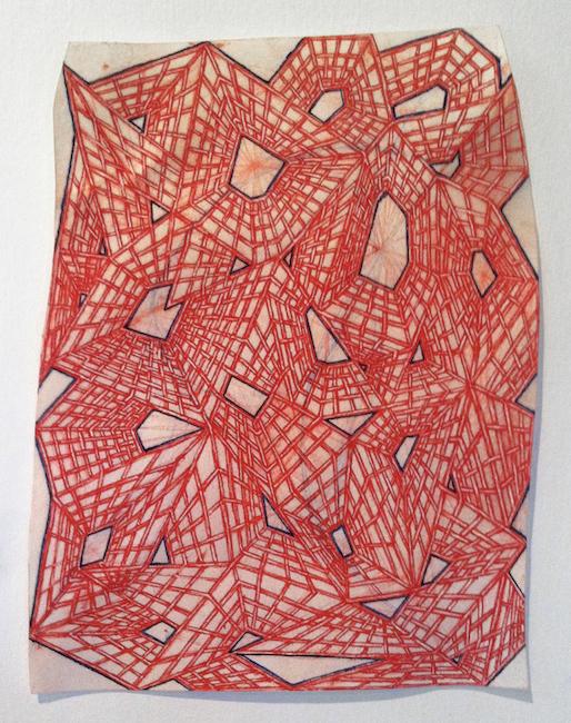 Passage, 2014, pigment & binder on parchment, 7 x 5in.
