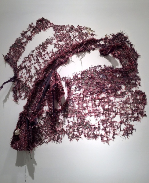 Elana Herzog, Untitled (Purple Jacket), 2008, Woman's jacket, metal staples in reinforced, painted drywall panel, 41 x 48 x 2 in.