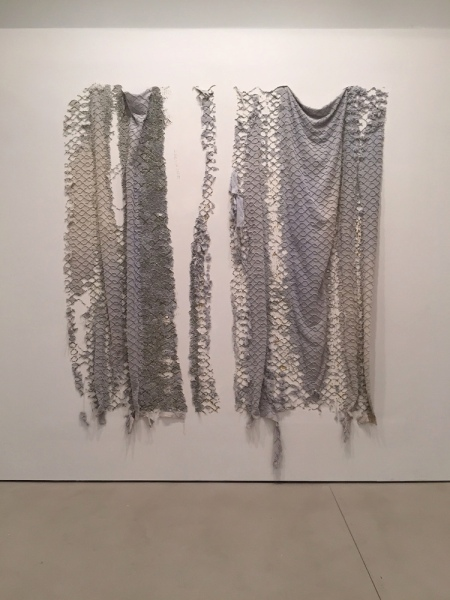 Elana Herzog, Untitled (Chainlink Drapery Study), 2004, Chenille bedspread, metal staples in reinforced, painted drywall panel, 100 x 86 x 3 in.