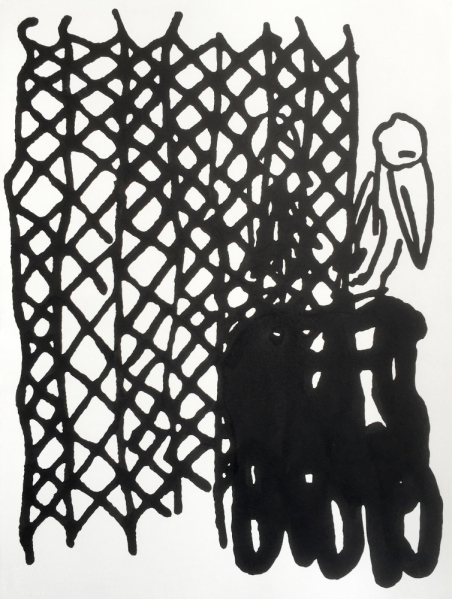 Christopher Roberson, Trap (Pelican), 2016, sumi ink on paper, 30 x 22 in.