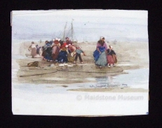Dutchwoman and Children round Fisherman on a Beach