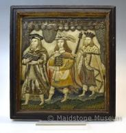 Pictorial stump work/raised work picture of three figures