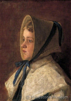 Head and Shoulders portrait of a Girl Wearing the Bonnet as worn by the Girls of Dr Woodward's School, Maidstone