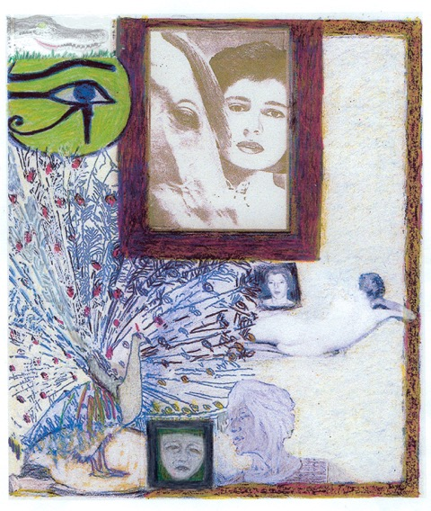 Jo Baer, Altar of the Egos, Working Version 4 , 2002, Digital image with colored pencil and crayon on paper,  11.7 x 8.3 in.